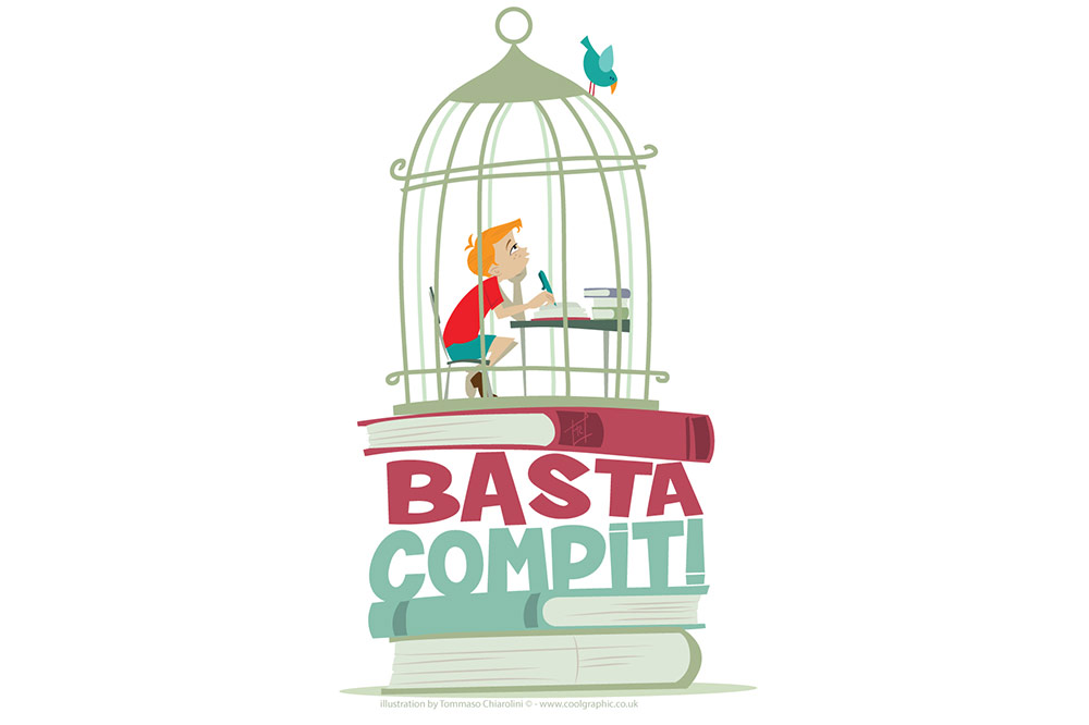 Basta Compiti logo - vector logo illustration - thumb