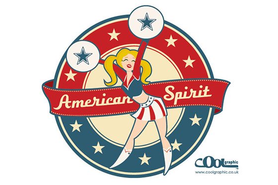 cheerleader - vintage retro illustration - thumb