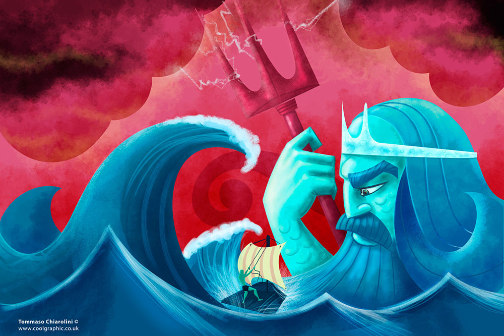 Poseidon - digital art illustration thumb
