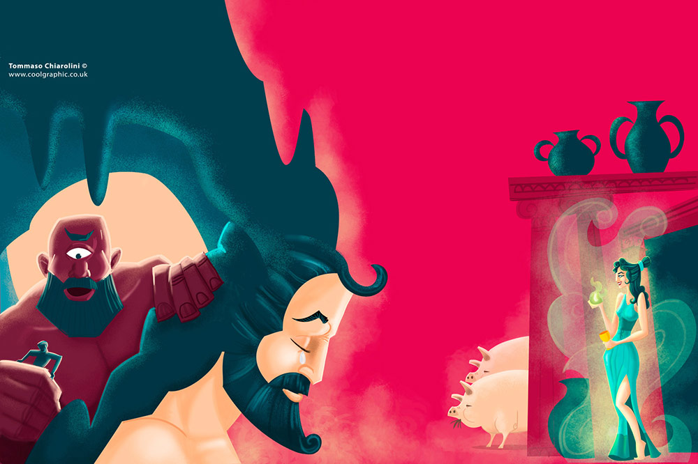 Odysseus, polyphemus and Circe - digital art illustration thumb