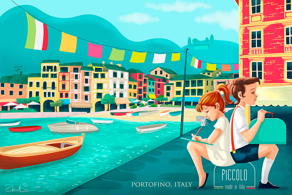 Vintage kids in Portofino Italy - digital illustration thumb