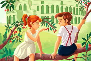 Vintage kids in Rome Italy - digital illustration thumb