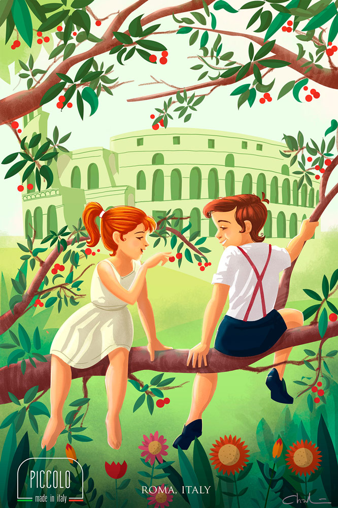 Vintage kids in Rome Italy - digital illustration
