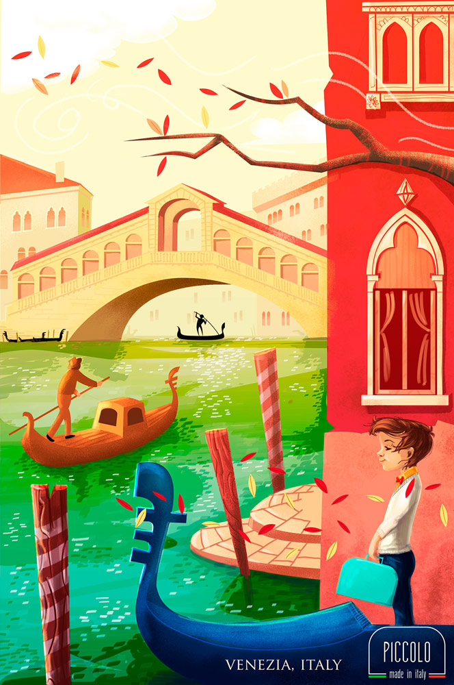Vintage kids in Venice Italy - digital illustration