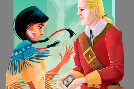 Pocahontas and John Smith - illustration thumb