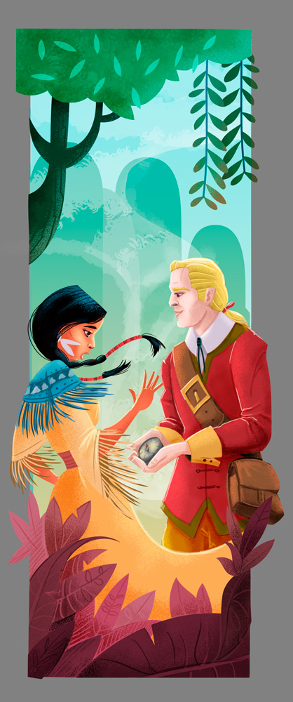 Pocahontas and John Smith - digital art illustration