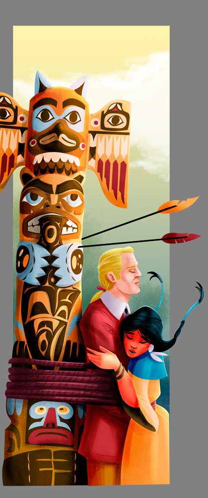 Pocahontas saving John Smith - digital art illustration
