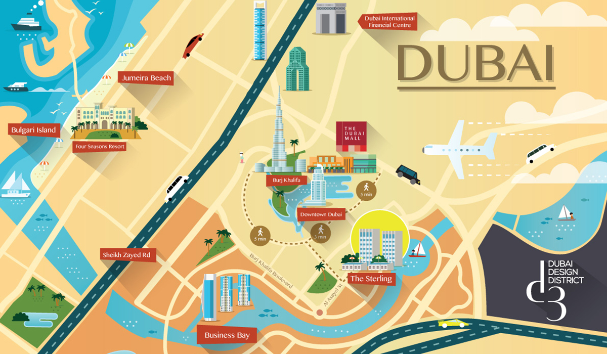 Dubai Stylized map illustration