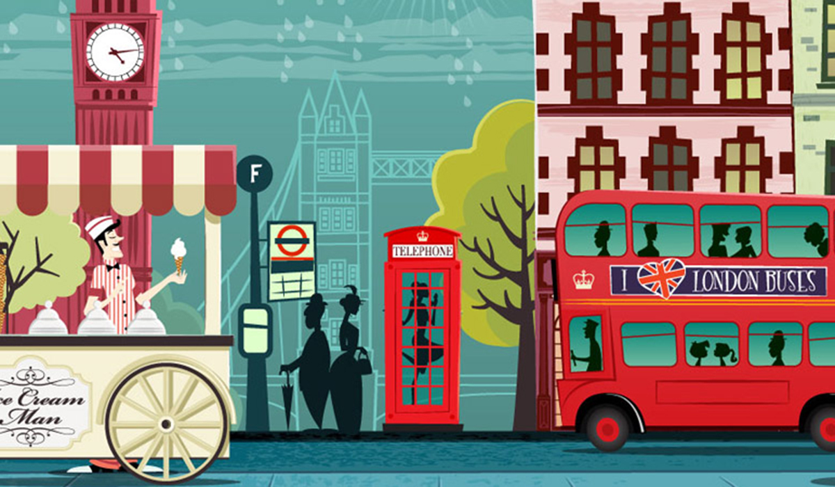 London retro illustration