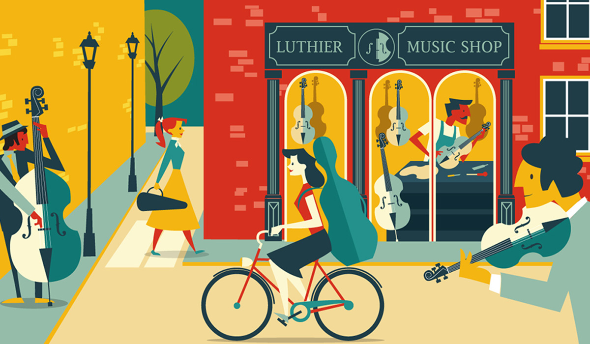 Musicians retro illustration
