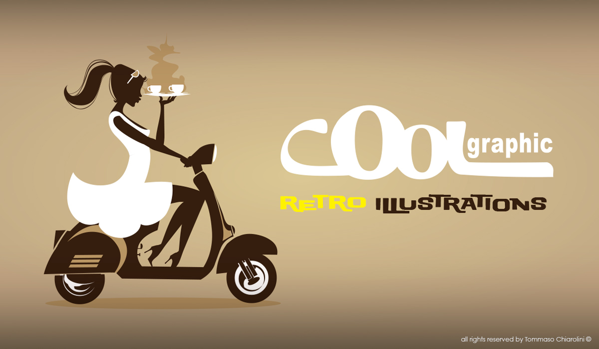 Vespa Girl retro illustration