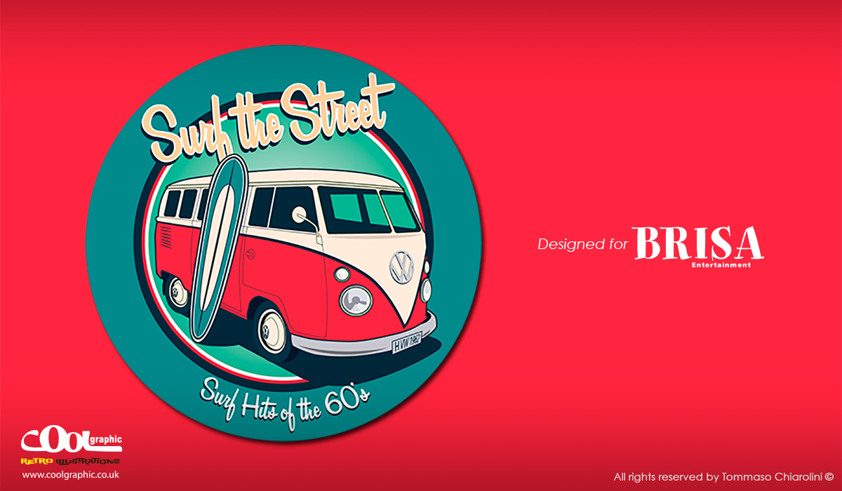 volkswagen bus retro illustration